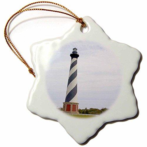 3dRose orn_93246_1 Cape Hatteras Lighthouse in North Carolina US34 DFR0031 David R Frazier Snowflake Ornament, Porcelain, 3-Inch