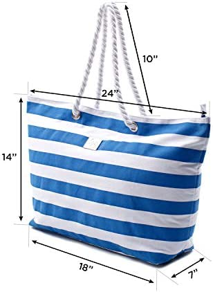 Large Canvas Striped Beach Bag - Top Zipper Closure - Waterproof Lining - Tote Shoulder Bag For Gym Beach Travel