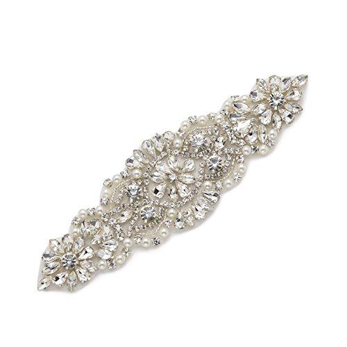 Bachelorette Crystal (SWEETV Crystal Bridal Applique Rhinestone Belt Sash Applique Pearl Patches Dress Accessories)