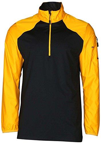 Nike Men's Dri-Fit 1/2 Zip Hybrid Mock Neck Football Shirt-Black/Gold-XL