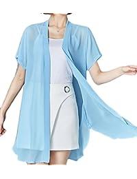 jxfd Women's Short Sleeve Chiffon Kimono Cardigan Cover up Blouse