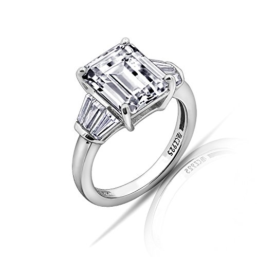 Baguette Sterling Engagement Ring Silver - Diamonbliss Platinum Sterling Silver Cubic Zirconia Emerald Cut Ring, Size 5