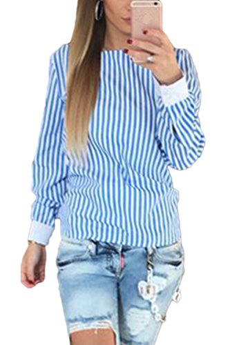 Women 's Long Sleeve Backless Venda Blusas A Rayas Blue