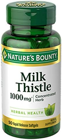 Nature s Bounty Milk Thistle Pills and Herbal Health Supplement, Supports Liver Health, 1000mg, 50 Softgels