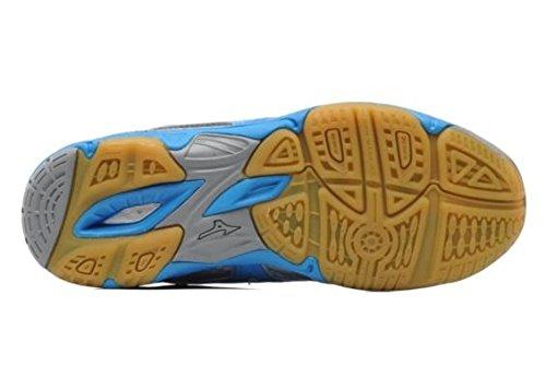 Azul 3 Wave Twister Blanco Señora Indoor Plata Zapatilla MIZUNO BnzxwUU