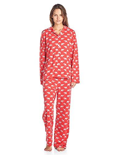 Knit Pajamas (BedHead Pajamas BHPJ by Women's Brushed Back Soft Knit Pajama Set - Coral Grey Elephant - Large)