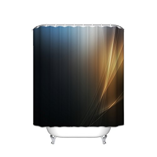 JANNINSE The Strongest Mildew Shower Curtain On The Market, 100% Antibacterial Waterproof,Personalized Abstract Gold Lines Gradient Mysterious Black Stripe Shadow Pattern Shower Curtain, ()