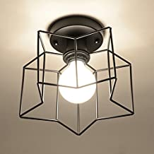 Marsbros Antique Retro Industrial Mini Black/White Painting Metal Semi Flush Mount Ceiling Light Fixture Pendant Light with Opening Metal Wire Cage Star Shape (Bulb Not Included) (Black)