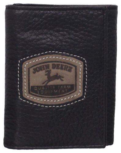 John Deere Men's Historical Logo Trifold Wallet, Black, One Size