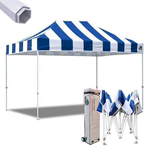 (Eurmax 10x15 Ft Premium Ez Pop up Canopy Instant Canopies Shelter Outdoor Party Gazebo Commercial Grade Bonus Roller Bag (Stripe Blue White))