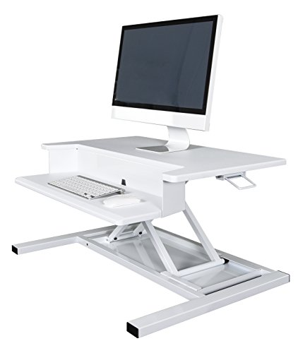 AirRise Pro - Standing Desk Converter | Adjustable Height Pneumatic Stand Up Desk - Sit to Stand with Your Current Desk in Seconds (2 Tier, White)