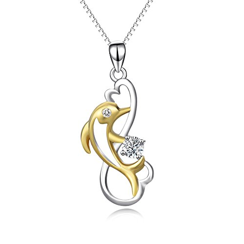 YFN 925 Sterling Silver Women's Two-tone Jewelry Animal Jumping Dolphin Heart Pendant Necklace,18