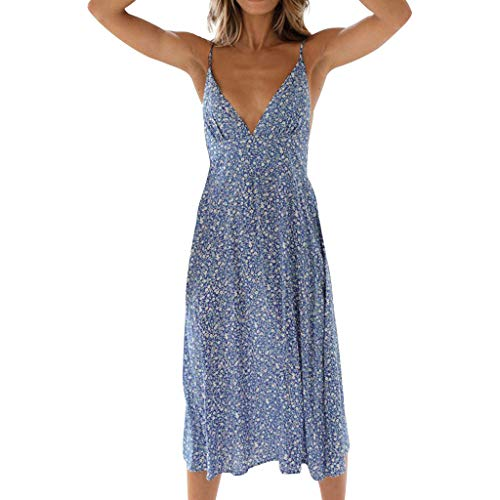 - Women Fashion Casual Long Halter Dress Dot Print V Neck Backless Sexy Dress Beach Party Resort Dress