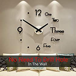 MEISD DIY Large Wall Clock Decorative Silent Wall Sticker Clock for Kitchen Living Room,Black(80CMx91CM)