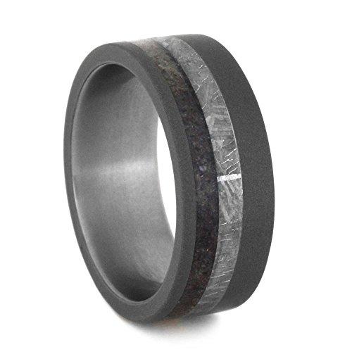 Dinosaur Bone, Gibeon Meteorite 8mm Comfort-Fit Sandblasted Titanium Ring, Size 6.25 by The Men's Jewelry Store (Unisex Jewelry)