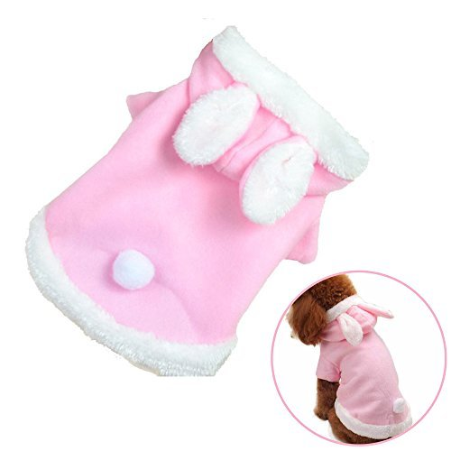 Cat Halloween Costumes Petsmart (STAR-TOP Cute Pet Dog Cat Bunny Clothes Soft Plush Warm Winter Dog Hoodie Warm Clothes Autumn Winter Puppy Costume Apparel(Pink-L))
