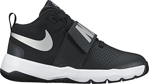 NIKE Boys' Team Hustle D 8 (GS) Basketball Shoe, Black/Metallic Silver-White, 6.5Y Youth US Big Kid
