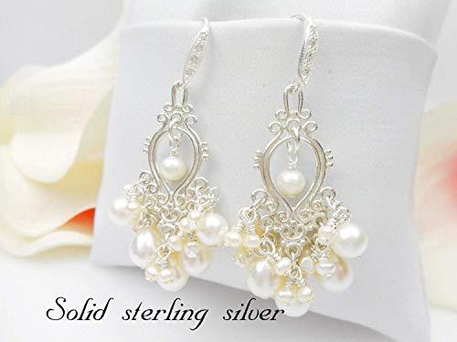 Silver Freshwater Pearl Chandelier - Lux Sterling Silver Freshwater Pearl Cluster Chandelier Bridal Earrings