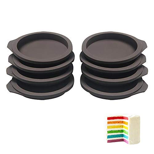 Silicone Round Cake Mold - Multi Layer Rainbow Cake Pan Bakeware Set Pizza Mold for Christmas Birthday Party Wedding Anniversary (8 Piece)