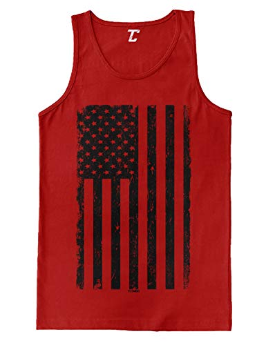 Distressed Black USA Flag - United States Men's Tank Top (Red, Medium)