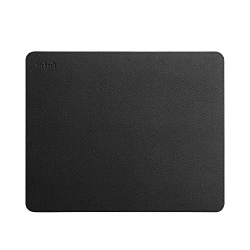 (Nekmit Leather Mouse Pad with Waterproof Coating, Non Slip Base, Black - New Version)