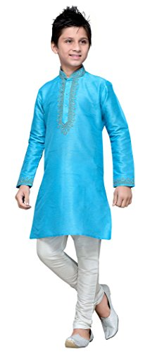 Kids Kurta Pajama Set Eid Festival Ethnic Wear Dupion Silk Fabric Party Dress by Cellora