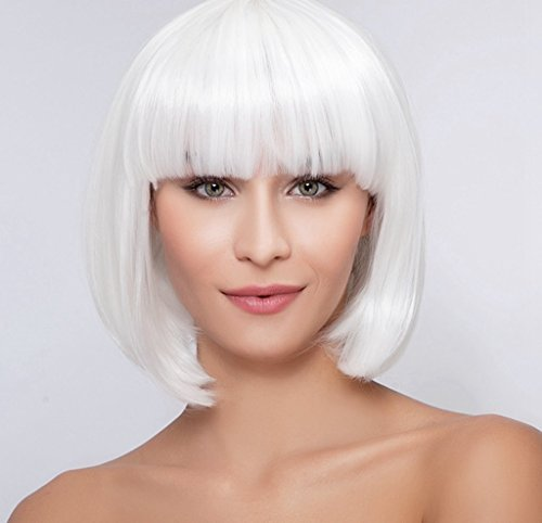 Diy White Lady Costume (Diy-Wig Women's White Wigs Bob Style Halloween Full Hair Wigs Short Straight Full Wigs with Neat Bang)