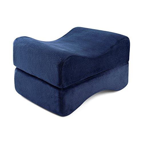 Price comparison product image HANKEY Memory Foam Leg Pillow, Orthopedic Knee Pillow For Hip, Leg, Knee, Back & Spine Alignment, Ergonomic Leg Rest Pillow for Pregnancy & Side Sleepers, Washable Velvet Fabric Cover, Dark Blue