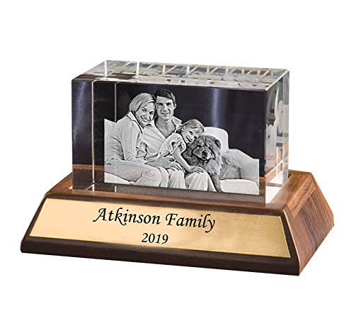 Personalized Glass Paperweight/Custom Gift - Your Picture and Text Engraved Inside The Rectangular Crystal Block with a Wooden -