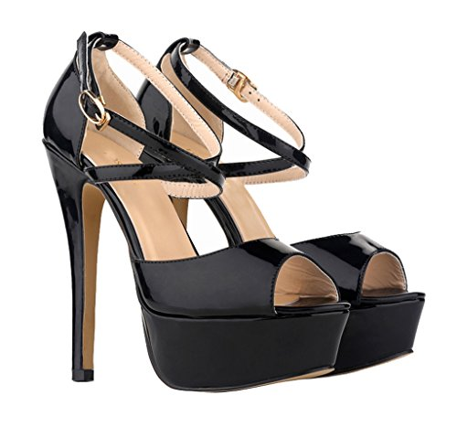 Sandal Patent Stiletto Shoes Black High On Slip Toe sandals inch Peep Women's 5 Platform Fashion Heels 5 PU xUaAqwwn0