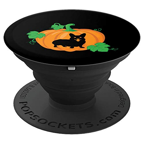 Corgi Dog Silhouette Pumpkin Halloween PopSockets Grip and Stand for Phones and Tablets