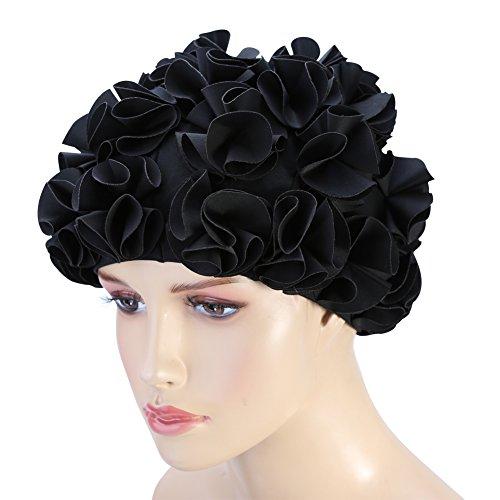 T-best Fashion Flower Swim Cap,Long Hair Swimming Cap Women Adult Kids Retro Floral Petal Swimming Hats Fashion Elastic Long Hair Swim Bathing Cap (Black)