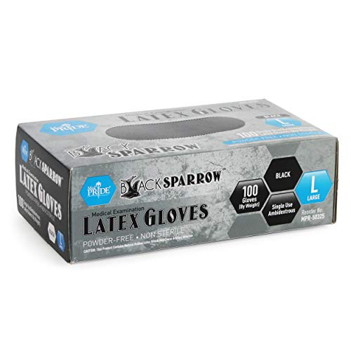 Medpride Medical Examination Latex Gloves  Black, 5 mil Thick, Large Case of 1000  Powder-Free, Non-Sterile, Heavy Duty Exam Gloves  Professional Grade for Tattoo Artists, Caterers & More by MED PRIDE (Image #4)