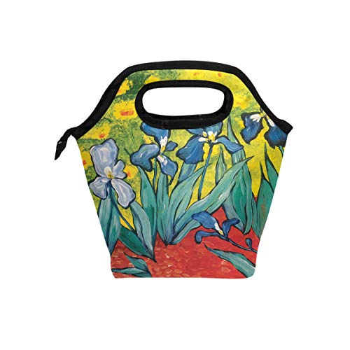 MONTOJ Beautiful Flower Iris lunch bag adult Cooler bag Ice Pack