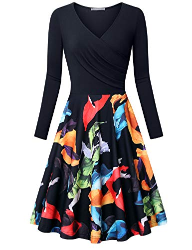 Furnex Fall Dress Women, Women's Petite Dresses Homecoming Dress Knee Length Elegant V-Neck Aline Flared Midi Dress Black Orange XX-Large