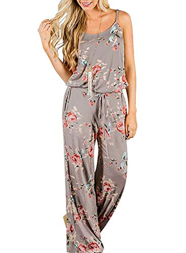 Artfish Women Sexy Sleeveless Spaghetti Strap Floral Printed Summer Jumpers Jumpsuit Rompers (M,Greyi) (Best Wedding Motif For 2019)