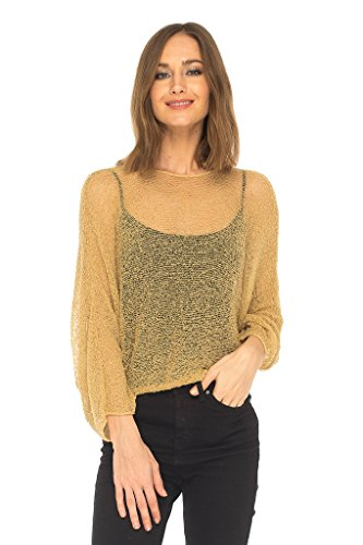 SHU-SHI Womens Knit Lightweight Shrug Sheer Blouse Top Poncho Sweater