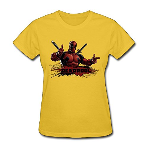 Price comparison product image AOPO Deadpool Wade Wilson Tee Shirts For Women X-Large Yellow