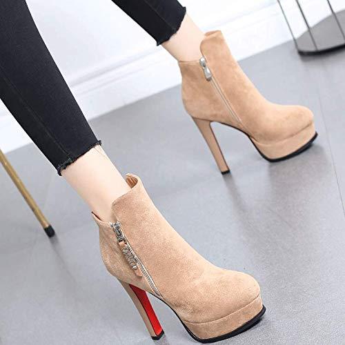 HRCxue Pumps High Heel Damen fein mit Martin Stiefel Plattform High Heel Stiefel und nackten Stiefeln