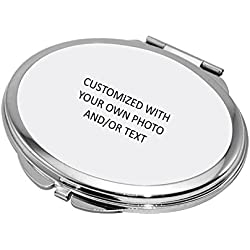 Make Your Own Mirror--Personalized Compact Makeup Mirror with Photo & Text, Stainless Steel Pocket Mini Personal Travel Mirror,Customized Birthday/Valentines Day/Christmas Gift for Girls,Women,Oval