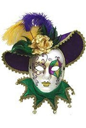Mardi Gras Purple, Green and Gold Venetian Masquerade Mask with Feathers, 18
