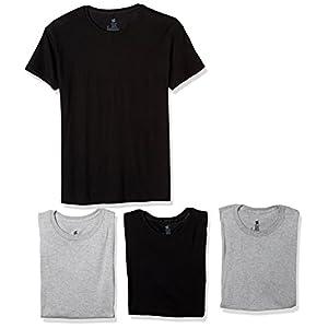 Hanes Ultimate Men's Comfort Fit Crewneck Undershirt 4-Pack, Black/Gray, Medium