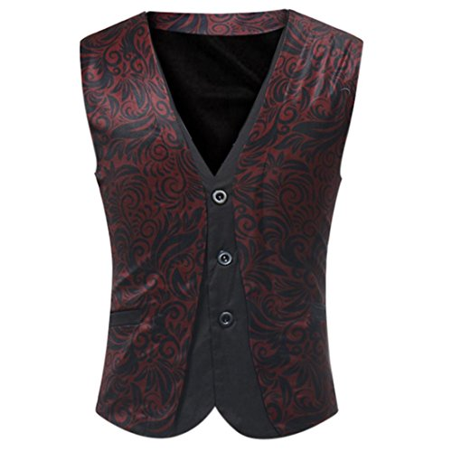 (DEATU Men Casual Plaid Sleeveless Fit Jacket Coat British Suit Vest Blouse (XXXXL, Red 3))