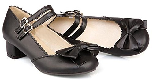 Idifu Womens Sweet Bows Mid Chunky Heels Two Straps Gesp Mary-jane Pumps Schoenen Zwart
