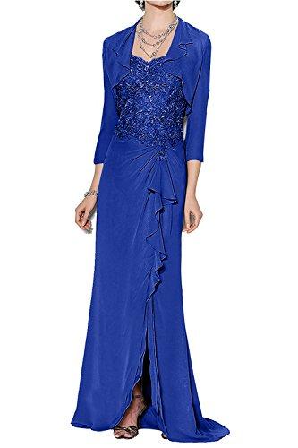 Festlichkleider Elegant Chiffon mia Partykleider Abendkleider Blau Brautmutterkleider La Ballkleider Royal Langes Spitze Jaket Braut mit zxdqPt1