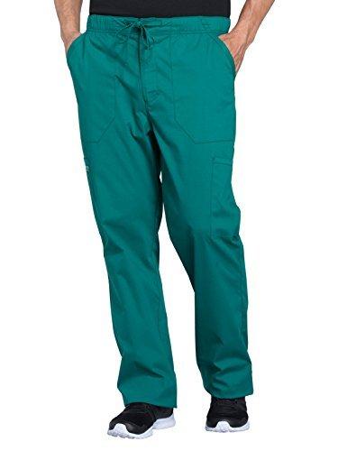 Cherokee Professionals Workwear Men's Tapered Leg Zip Fly Drawstring Scrub Pant Small Tall Hunter Green