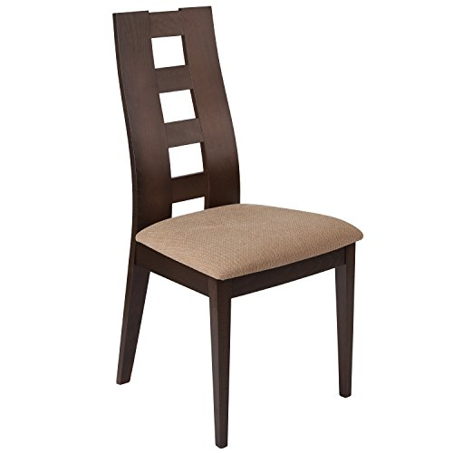 Flash Furniture Preston Walnut Wood Dining Chair with Window Pane Back and Brown Fabric Seat