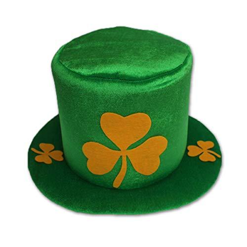 St. Patrick's Day Party Costume Hat Green Leprechaun Shamrock Top Hat]()