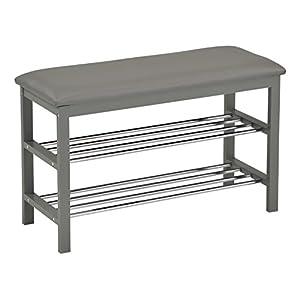 Kings Brand Grey Wood Frame With Vinyl Upholstery Shoe Rack Storage Organizer & Hallway Bench