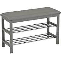 Kings Brand Grey Wood Frame With Vinyl Upholstery Shoe Rack Storage Organizer & Hallway Bench